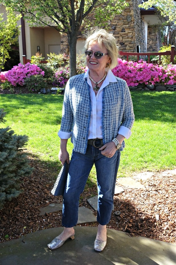 Jennifer Connolly of A Well Styled life wearing Nic+Zoe blue plaid jacket with white shirt and blue jeans