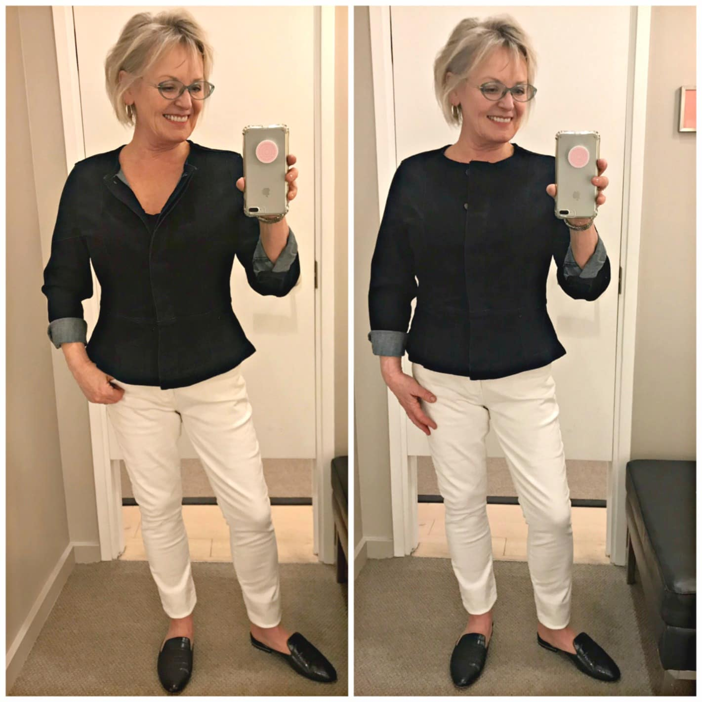 casual outfit of peplum denim jacket and white jeans on over 50 blogger Jennifer Connolly