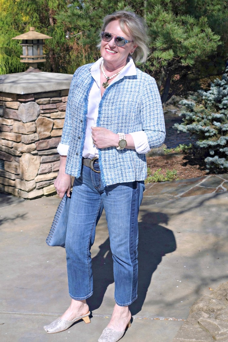 casual outfit with plaid jacket, white shirt and blue jeans on over 50 blogger Jennifer Connolly