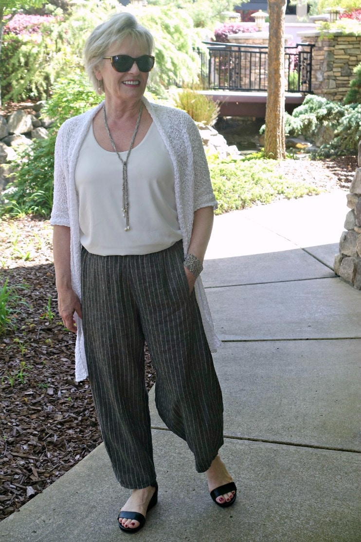 cream top and taupe linen lantern pant from Artful Home styled with long cardigan and sandals
