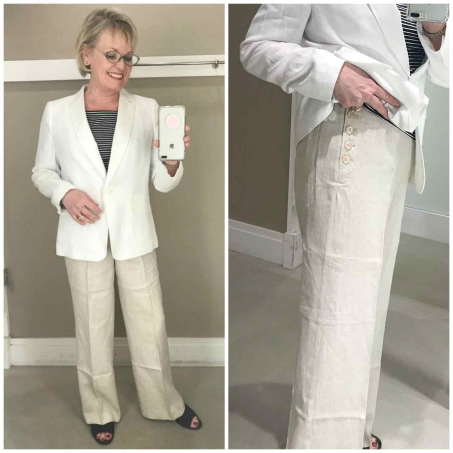 Jennifer Connolly of A Well Styled Life wearing Talbots lien jacket and side button linen pants