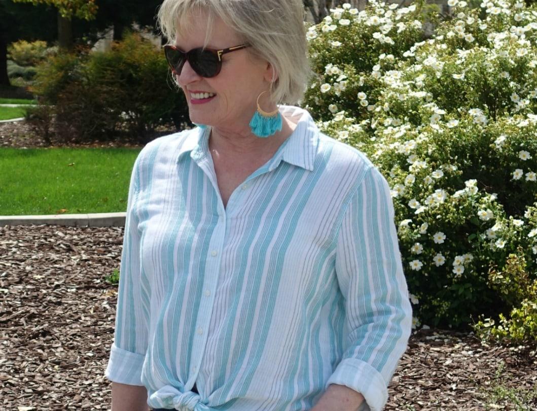 aqua boho tassel earrings on Jennifer Connolly of A Well Styled Life