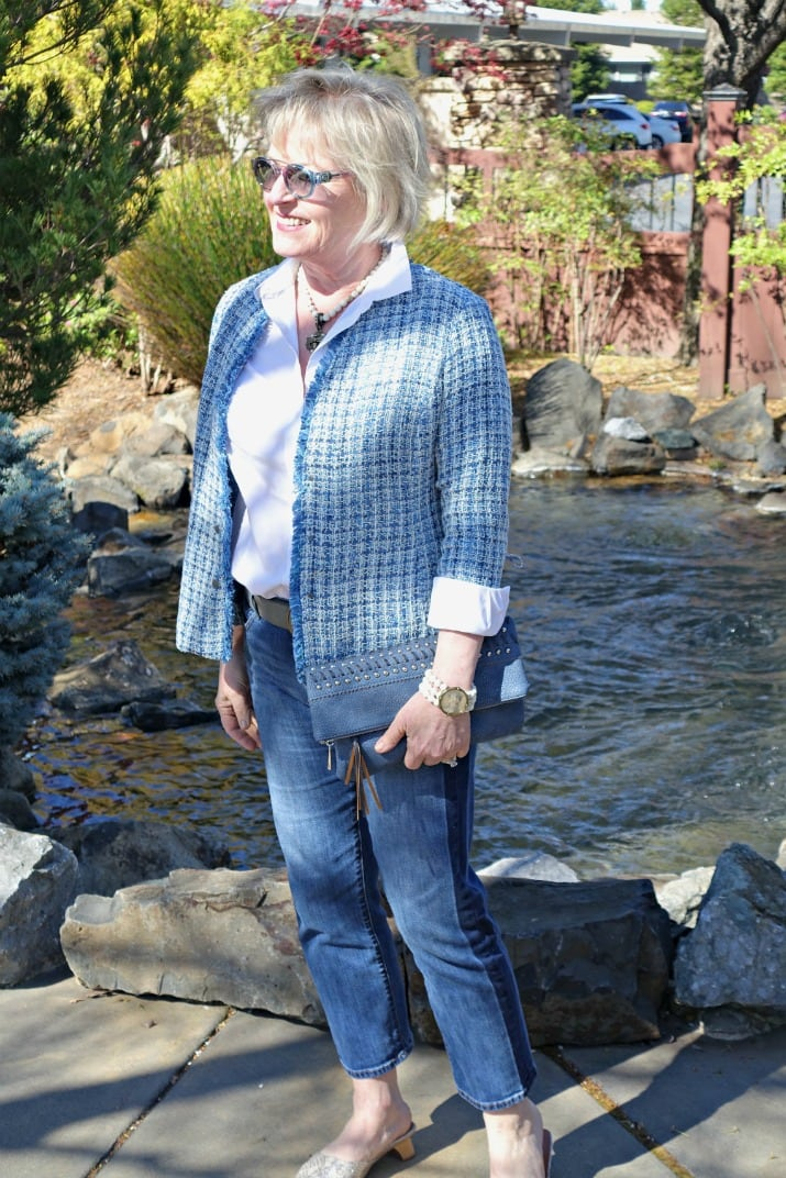 casual outfit with blue tweed jacket, white shirt and blue jeans on over 50 blogger Jennifer of A Well Styled Life