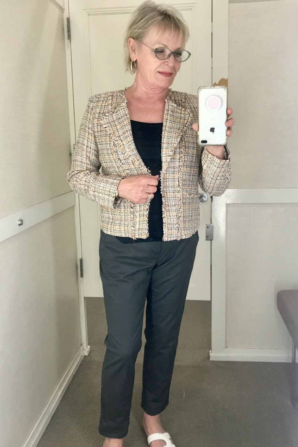 frayed tweed jacket and gray chinos from Loft worn by Jennifer Connolly of A Well Styled Life