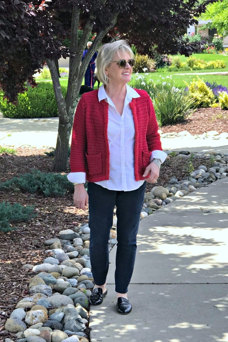 Red cardigan sweater, white shirt and blue jeans casual outfit on A Well Styled Life