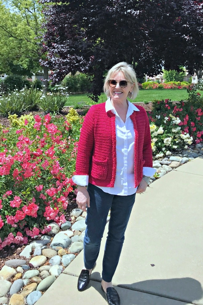 Jennifer Connolly of A Well Styled Life wearing red sweater from Ann Taylor and leopard print sunglasses