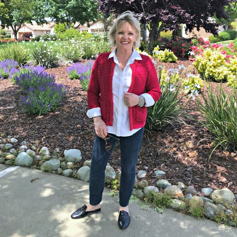Jennifer Connolly of A Well Styled Life wearing red Ann Taylor sweater cardigan over jag denim jeans