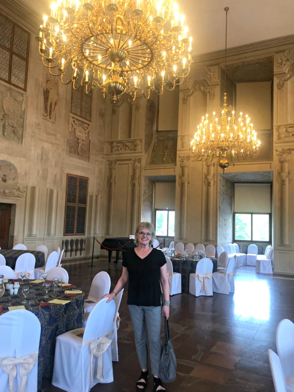 Jennifer Connolly of A Well Styled Life in private diining room at Lobkowizs castle