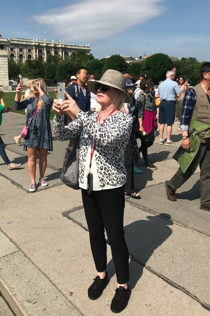 Jennifer Connolly of A Well Styled Life taking pictures on Viking tour