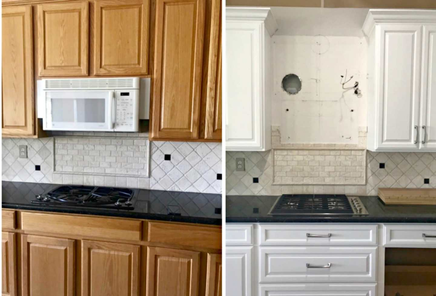 oal cabinets before and after painting white on A Well Styled Life