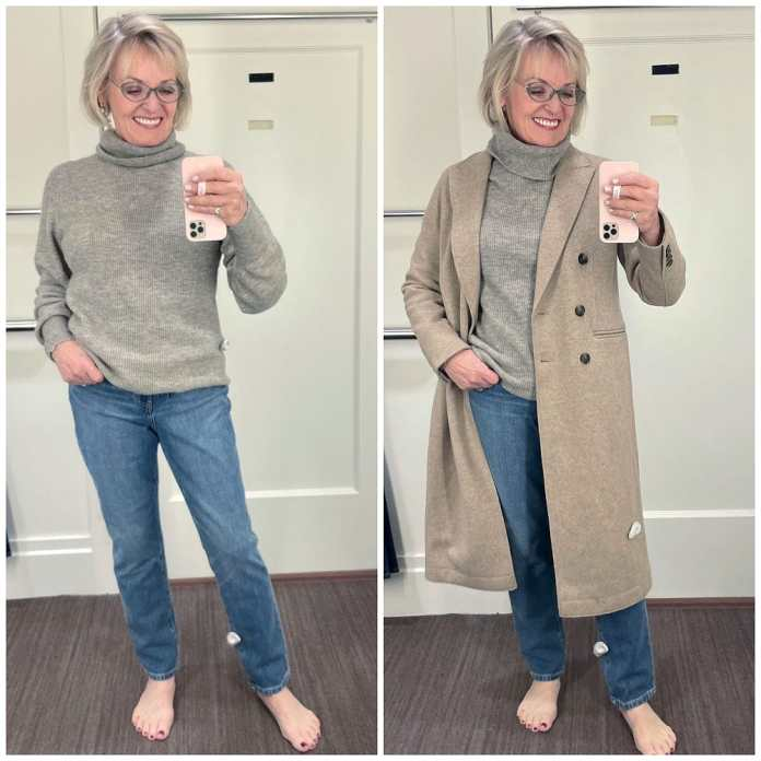 woman showing two outfits with banana republic beige sweater