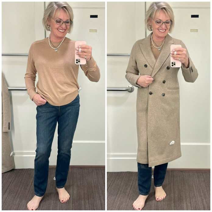 woman wearing camel silk sweater with jeans and beige coat