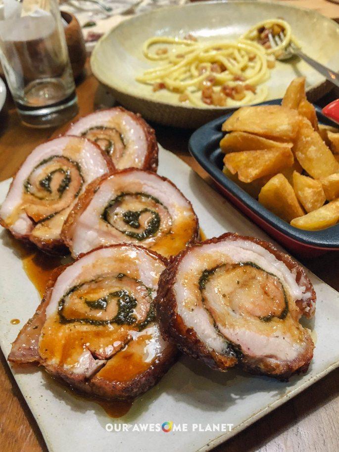 Porchetta (₱1,995). Crunchy roasted pork belly.