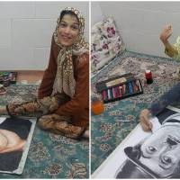 Physically Challenged Iranian Artist Becomes Internet Sensation By Drawing Portraits Using Only Her Feet