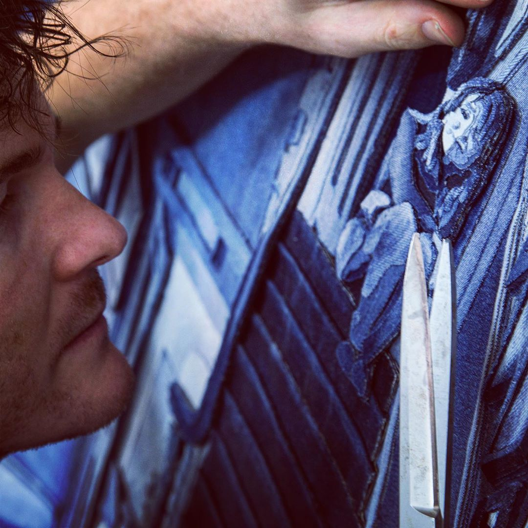 Artist Creates Stunning Works Of Art From Pieces Cut Out Of Denim Jeans 1