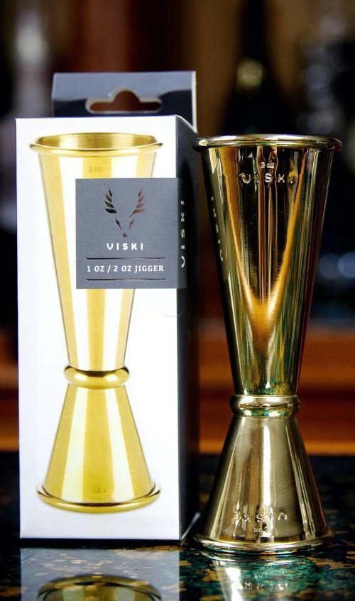 Large Gold Japanese Style Makoto Jigger, Viski Professional