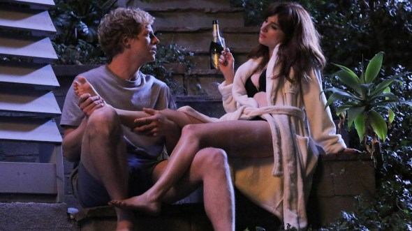 Chris Geere & Aya Cash in episode one of FX's new comedy series You're The Worst.