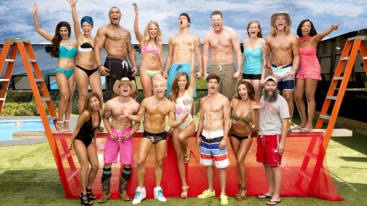 Frankie (front row speedo) & Zach (front row striped shorts) and the Big Brother meltdown confession hour.