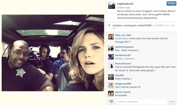 @sophiabush - We've picked up some stragglers. And Lindsay doesn't let Atwater drive either. Duh. #ChicagoPD #WHW #workinhardwednesday #bepowerful