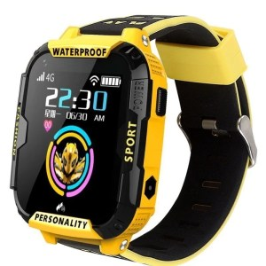 yellow smart watch showing time