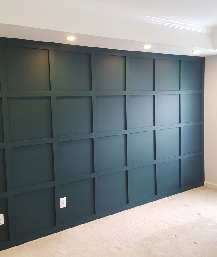 Panel Grid Wall Bedroom painted in Night watch color
