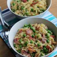 Orzo with Bacon and Peas