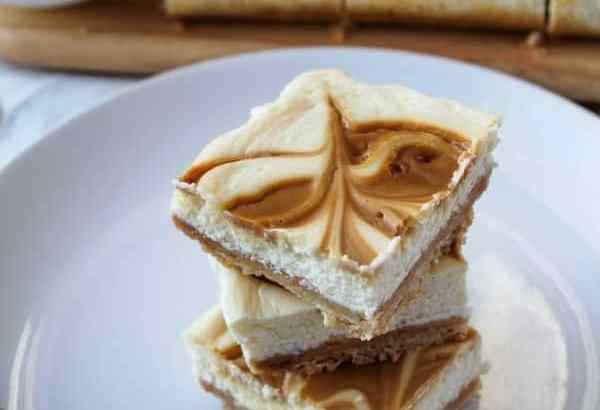 Caramel Swirl Cheesecake Bars | How to Be Awesome on $20 a Day