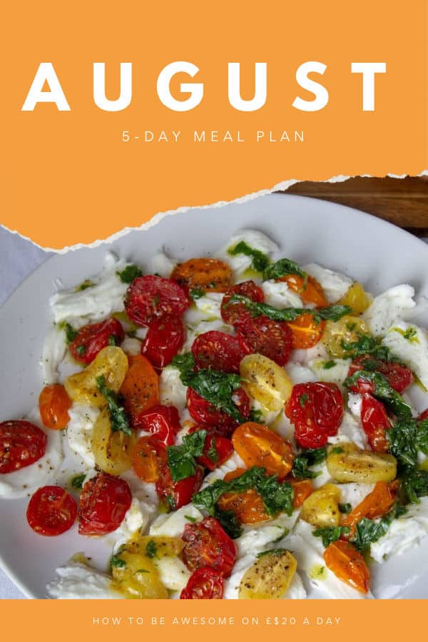 August 5-Day Meal Plan with tomato mozzarella salad