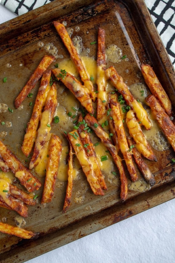 Spicy Cheese Fries on a baking tray