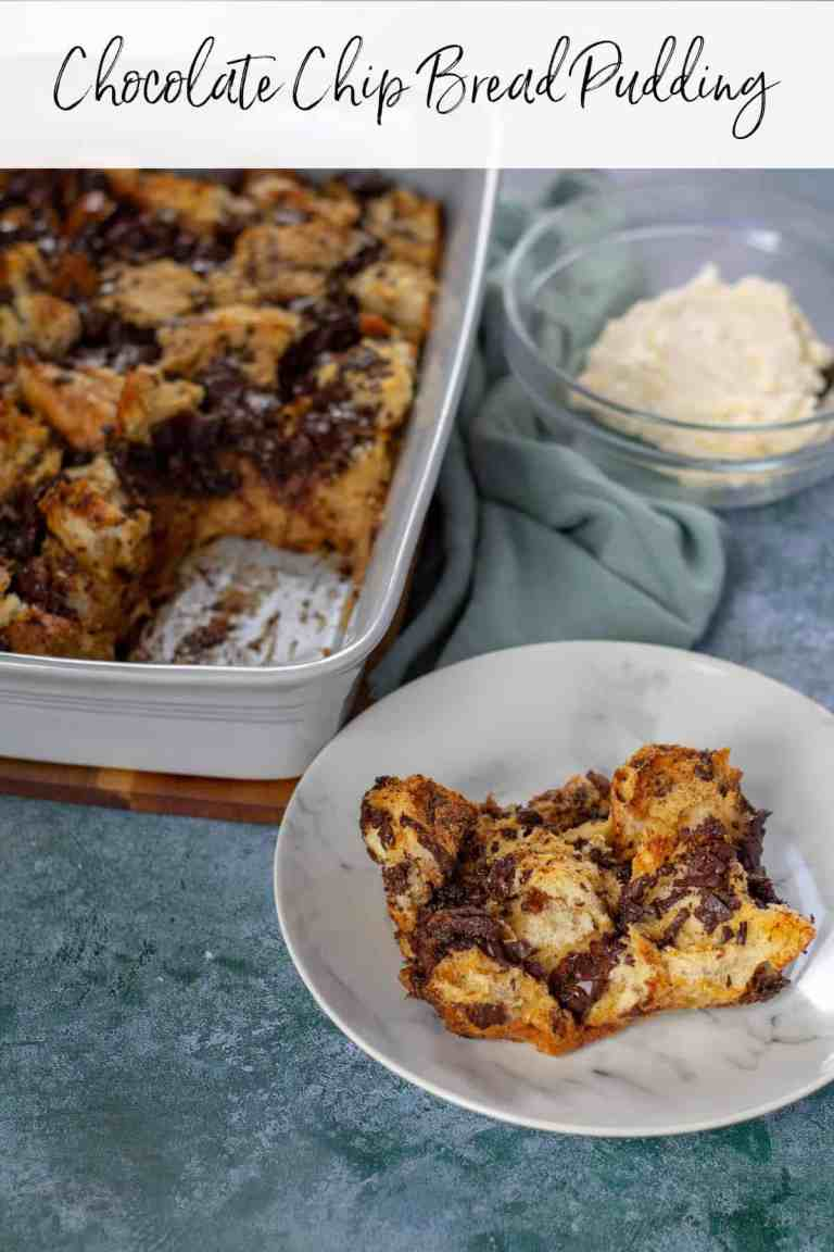 Chocolate Chip Bread Pudding on a plate
