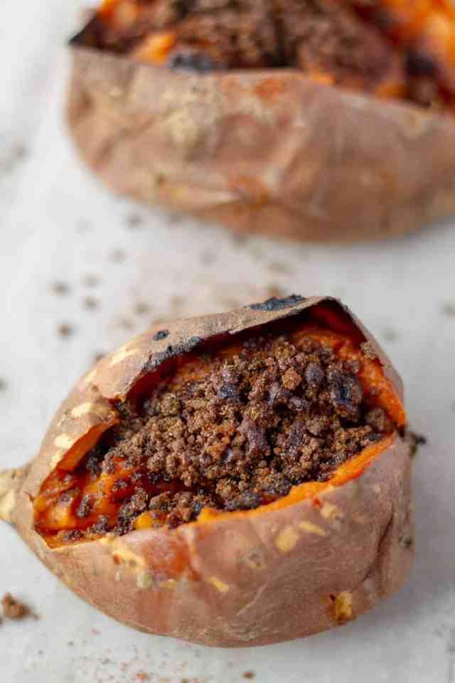 Close up Baked Sweet Potato Brulee