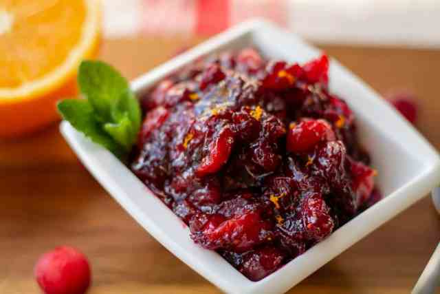 Homemade Cranberry Sauce close up in a square dish