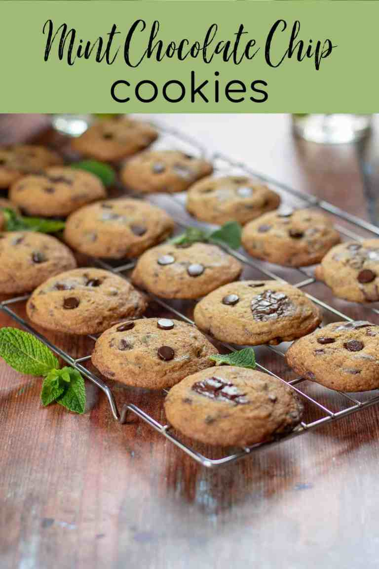 Mint Chocolate Chip Cookies with text
