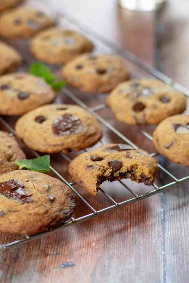 Mint Chocolate Chip Cookies on a rack