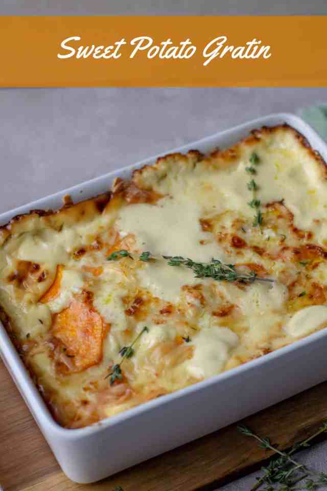 Sweet Potato Gratin in casserole dish with thyme