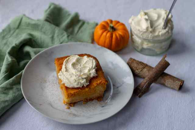 Pumpkin Spice Gooey Butter Cake with cinnamon stick