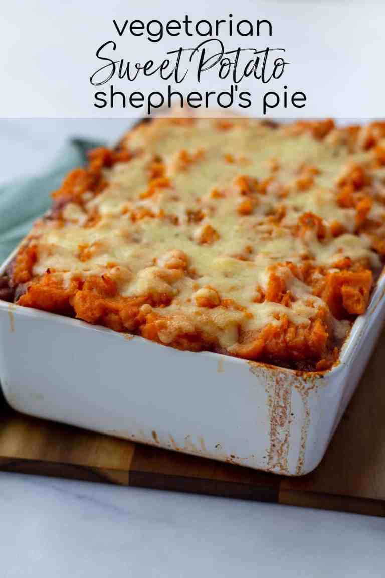 Vegetarian Sweet Potato Shepherd's Pie with text