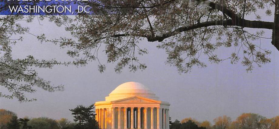 Looking across the water at the Thomas Jefferson Memorial