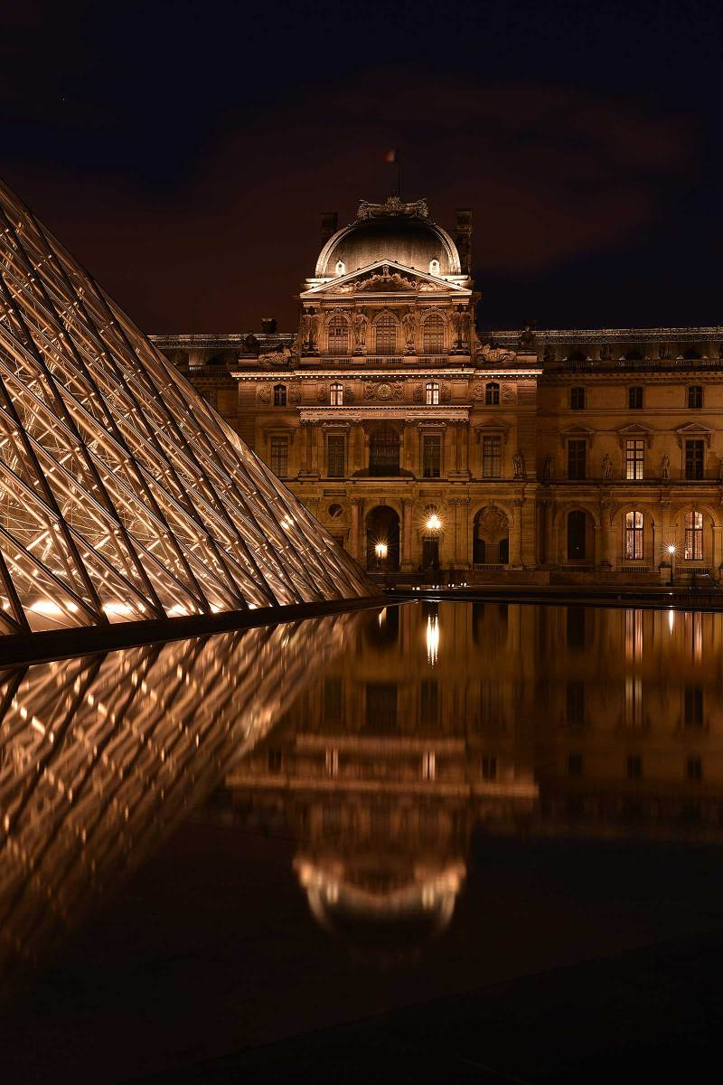 Louvre at Night :: Pyramids and Pavilion Sully