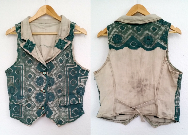 fake crochet vest refashion