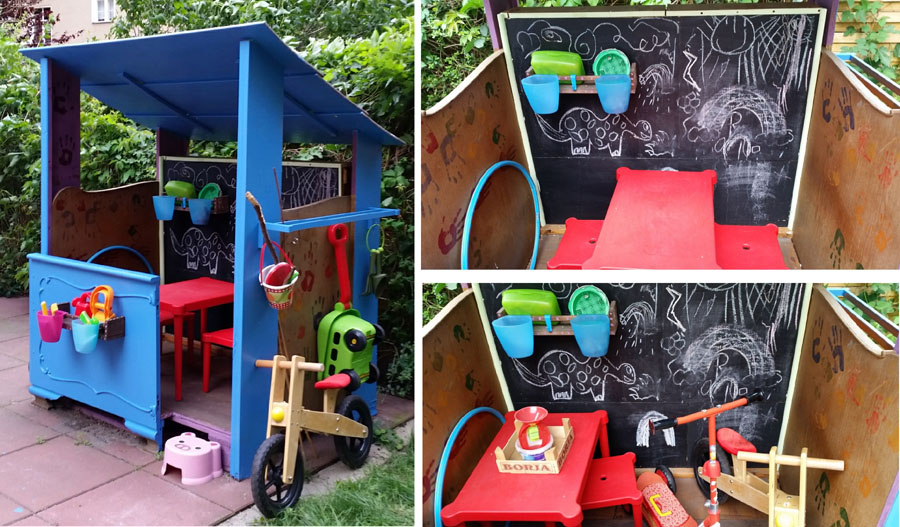 DIY Pallet & Scrap Wood Playhouse interior