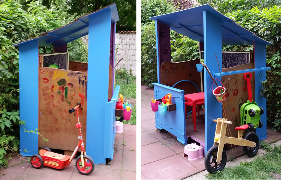 DIY Pallet & Scrap Wood Playhouse sides