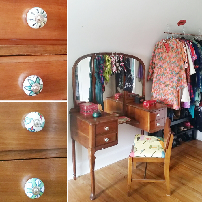 A quick vintage vanity makeover + how to reupholster a seat