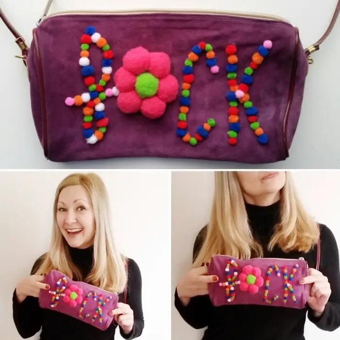 Simple No Sew DIY Pom Pom Statement Bag