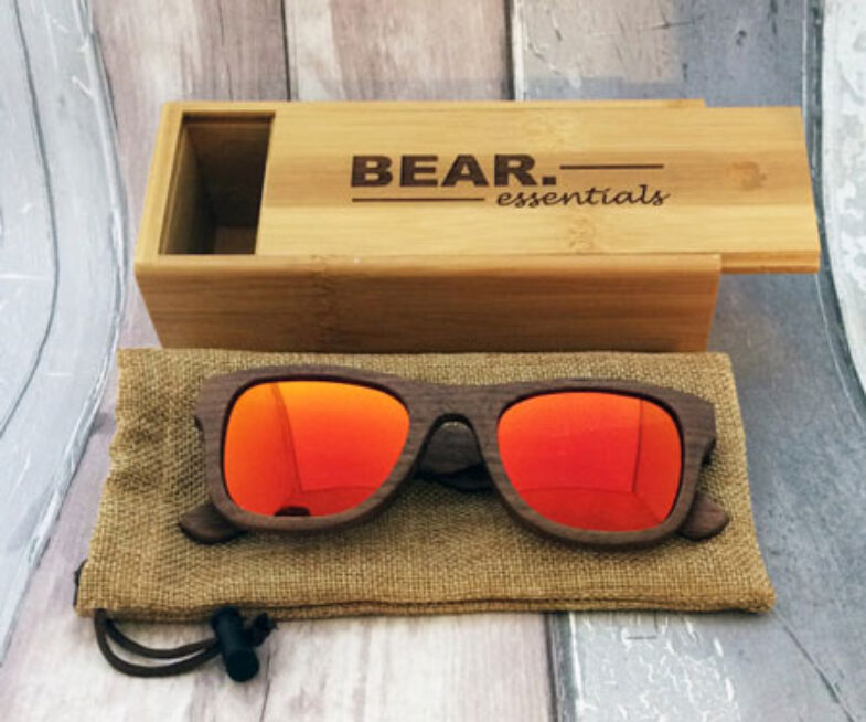 Handcrafted Wooden Mirrored Red Lens Sunglasses