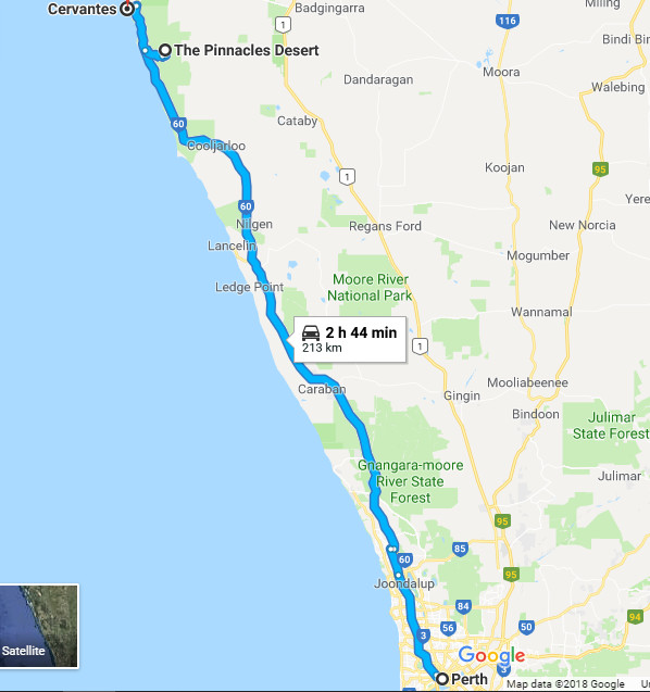 Google Map Perth to Cervantes