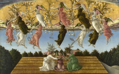 Full title: 'Mystic Nativity' Artist: Sandro Botticelli Date made: 1500 Source: http://www.nationalgalleryimages.co.uk/ Contact: picture.library@nationalgallery.co.uk Copyright (C) The National Gallery, London