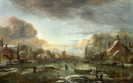Full title: A Frozen River by a Town at Evening Artist: Aert van der Neer Date made: about 1665 Source: http://www.nationalgalleryimages.co.uk/ Contact: picture.library@nationalgallery.co.uk Copyright (C) The National Gallery, London