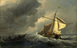 Full title: A Dutch Vessel in a Strong Breeze Artist: Willem van de Velde Date made: about 1670 Source: http://www.nationalgalleryimages.co.uk/ Contact: picture.library@nationalgallery.co.uk Copyright (C) The National Gallery, London