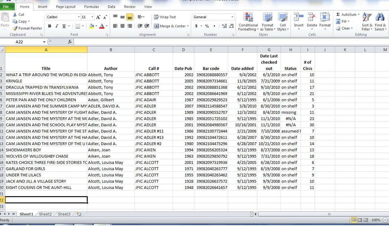 Using Excel With Collection Development
